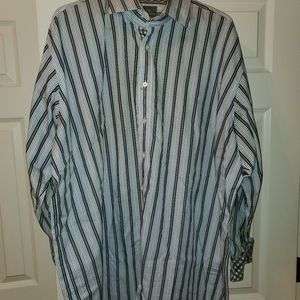 Blue white and light blue stripped shirt
